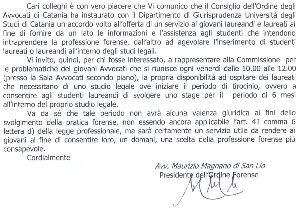 Accordo Ordine Avvocati di Catania